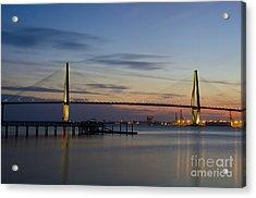 Acrylic Print featuring the photograph Ravenel Bridge Nightfall by Dale Powell