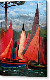 Acrylic Print featuring the painting Ravenna Regatta by Tracey Harrington-Simpson