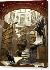Ravens In The Library Acrylic Print by Rob Carlos