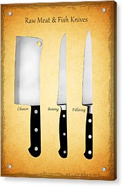 Raw Meat And Fish Knives Acrylic Print