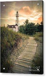 Rawley Point Lighthouse Under Smoldering Skies Acrylic Print by Mark David Zahn