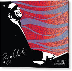 Ray Charles Jazz Digital Illustration Print Poster  Acrylic Print by Sassan Filsoof