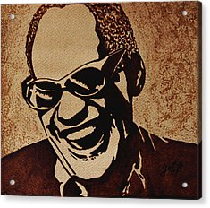 Ray Charles Original Coffee Painting Acrylic Print by Georgeta  Blanaru