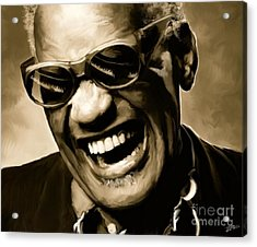 Ray Charles - Portrait Acrylic Print by Paul Tagliamonte