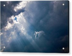 Rays Of Sunshine Through Dark Clouds Acrylic Print by Natalie Kinnear