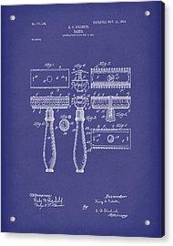 Razor 1904 Patent Art Blue Acrylic Print