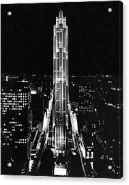 Rca Building At Night In Nyc Acrylic Print by Underwood Archives