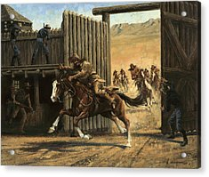 Re-closing Frontiersmen Coming Into The Fort Acrylic Print by Don  Langeneckert