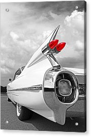 Reach For The Skies - 1959 Cadillac Tail Fins Black And White Acrylic Print by Gill Billington