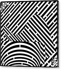 Reaching Cat Maze Op Art Acrylic Print by Yonatan Frimer Op Art Mazes