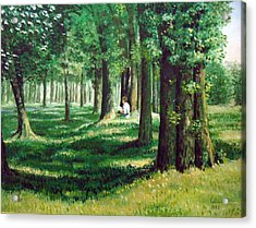 Acrylic Print featuring the painting Reader In The Park by Laila Awad Jamaleldin