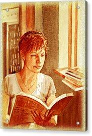 Reading A Book Vintage Style Acrylic Print by Irina Sztukowski