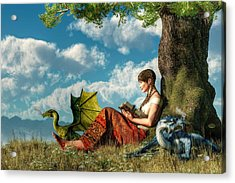 Reading About Dragons Acrylic Print by Daniel Eskridge
