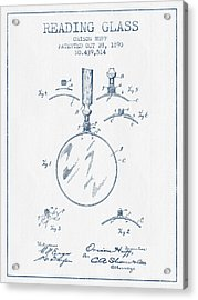 Reading Glass Patent From 1890- Blue Ink Acrylic Print by Aged Pixel