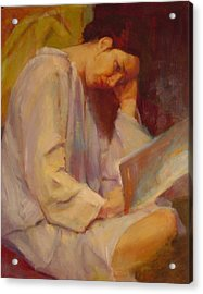 Reading In The Blue Robe  Acrylic Print by Irena  Jablonski