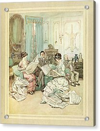 Reading Newspapers Acrylic Print by British Library