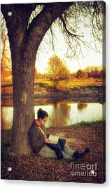 Reading Under The Tree Acrylic Print by Carlos Caetano