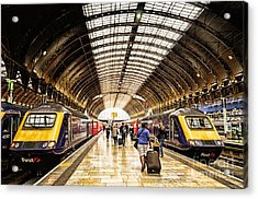 Ready For Departure - Trains Ready To Depart From Under The Grand Roof Of London Paddington Station Acrylic Print