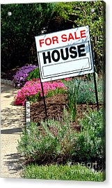 Real Estate For Sale Sign And Garden Acrylic Print