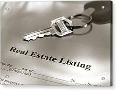 Real Estate Listing And Hosue Keys Acrylic Print