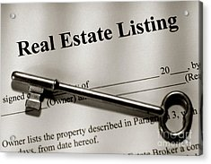 Real Estate Listing Contract And Old House Key Acrylic Print