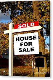 Real Estate Sold And House For Sale Sign On Post Acrylic Print