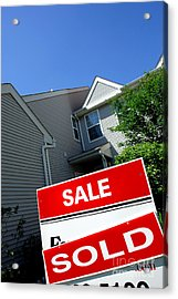 Real Estate Sold Sign And Townhouse Acrylic Print