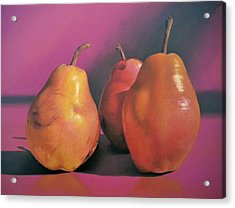 Really Red Pears Pastel Acrylic Print by Ben Kotyuk