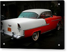 Rear Quarter Of A 1955 Masterpiece Acrylic Print by Kathy Peltomaa Lewis