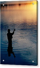 Rear View Of Fly-fisherman Silhouetted Acrylic Print by Panoramic Images