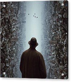 Rear View Of Man Looking At Flying Acrylic Print by Chen Liu / Eyeem