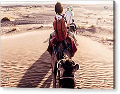Rear View Of People Riding Camels In Desert Acrylic Print by Oscar Wong