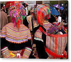 Rear View Of Two Flower Hmong Women Acrylic Print
