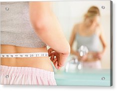 Rear View Of Woman Measuring Waist With Mirror Reflection Acrylic Print by GlobalStock