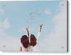 Rear View Of Women Throwing Confetti Acrylic Print by Raquel Perez Garrido / Eyeem