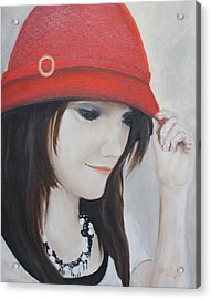 Rebecca's Red Hat Acrylic Print by Patricia Olson