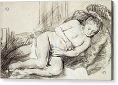Reclining Female Nude Black Chalk And Bodycolour On Paper Acrylic Print by Rembrandt Harmensz. van Rijn
