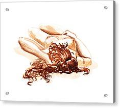 Reclining Nude Model Gesture Xv Under The Sun  Acrylic Print by Irina Sztukowski