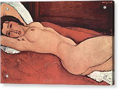 Reclining Nude With Arms Behind Her Head Acrylic Print by Amedeo Modigliani
