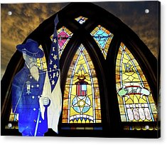 Recollection Union Soldier Stained Glass Window Digital Art Acrylic Print by Thomas Woolworth