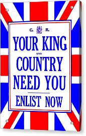 Recruiting Poster - Britain - King And Country Acrylic Print by Benjamin Yeager