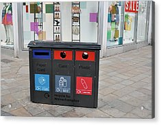 Recycling Bins In Front Of Fashion Shop Acrylic Print