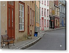 Recycling On Rue Couillard In Quebec City Acrylic Print by Juergen Roth