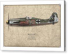 Red 13 Focke-wulf Fw 190d - Map Background Acrylic Print by Craig Tinder