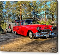 Acrylic Print featuring the painting Red '55 Chevy Wagon by Michael Pickett