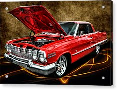 Red '63 Impala Acrylic Print by Victor Montgomery