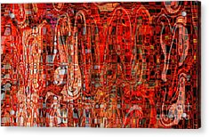 Red Abstract Panel Acrylic Print by Carol Groenen