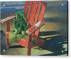 Acrylic Print featuring the painting Red Adirondack Chair by Mia Tavonatti