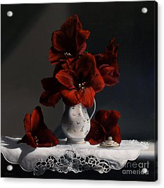 Red Amaryllis  Acrylic Print by Larry Preston