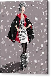 Red And Black Cape In The Snow Fashion Illustration Art Print Acrylic Print